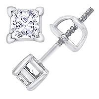 14K White Gold 1.50 Carat Princess-Cut Diamond Stud Earrings