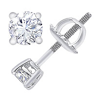 14K White Gold 1.50 Carat Round-Cut Diamond Stud Earrings