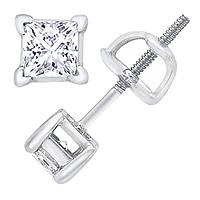 14K White Gold 1/2 Carat Princess-Cut Diamond Stud Earrings