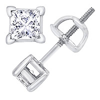 14K White Gold 2.00 Carat Princess-Cut Diamond Stud Earrings