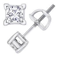 14K White Gold 2.00 Carat Princess-Cut Diamond Stud Earrings