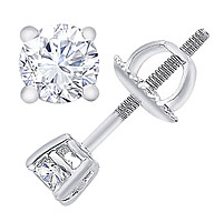 14K White Gold 2.00 Carat Round-Cut Diamond Stud Earrings
