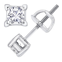 14K White Gold 3/4 Carat Princess-Cut Diamond Stud Earrings