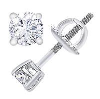 14K White Gold 3/4 Carat Round-Cut Diamond Stud Earrings