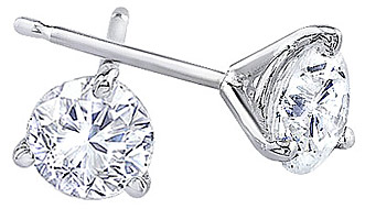 3 Prong White Gold Round-Cut Diamond Stud Earrings 1/4 Carat - 1.00 Carat