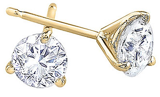 3 Prong Yellow Gold Round-Cut Diamond Stud Earrings 1/4 Carat - 1.00 Carat