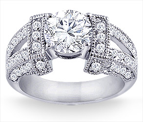 2 1/2 Carat Wide Design Engagement Ring