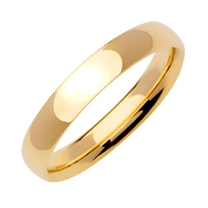 4mm Yellow Gold Plain Wedding Band