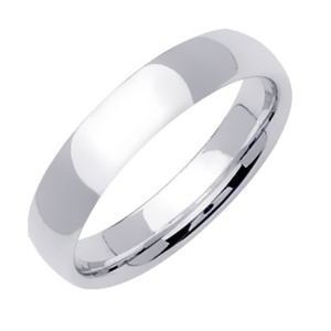5mm White Gold Plain Wedding Band