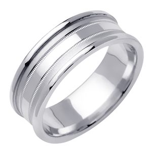 6.5mm White Gold Modern Design Wedding Band