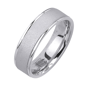 6mm Knife Edge White Gold Wedding Band