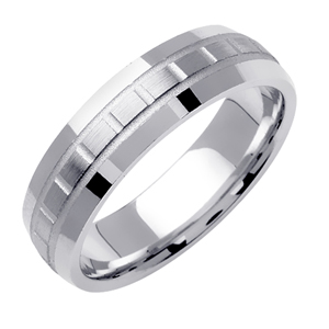 6mm White Gold Plain Wedding Band